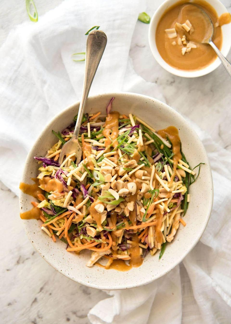 """<p>Your fave restaurant salad, without actually having to leave your house.</p><p>Get the recipe from <a href=""""http://www.recipetineats.com/chinese-chicken-salad-with-asian-peanut-salad-dressing/"""" rel=""""nofollow noopener"""" target=""""_blank"""" data-ylk=""""slk:Recipe Tin Eats"""" class=""""link rapid-noclick-resp"""">Recipe Tin Eats</a>.</p>"""
