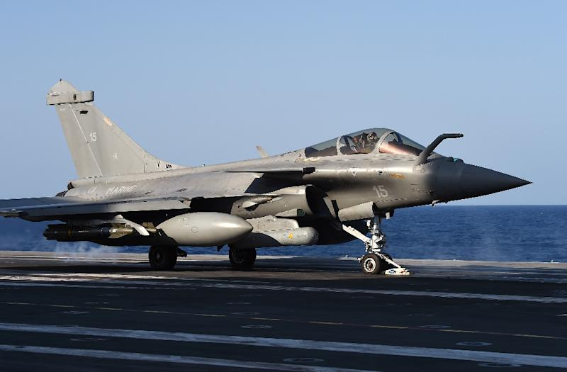 A French Rafale warplane takes off from the Charles-de-Gaulle aircraft carrier in the Mediterranean Sea, on November 23, 2015