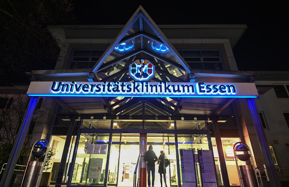 The entrance of the University hospital is seen in Essen, western Germany, on November 20, 2020. - An assistant medical director of the Essen University Hospital is accused of manslaughter in two cases. He was arrested on November 18, 2020. According to the joint investigations by the public prosecutor's office in Essen and the Essen police headquarters, it is suspected that the physician deliberately and illegally administered drugs to seriously ill people in the last phase of their lives, which led to their immediate death. (Photo by Ina FASSBENDER / AFP) (Photo by INA FASSBENDER/AFP via Getty Images)