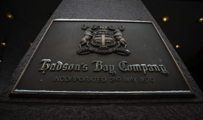 A sign is seen at the Hudson's Bay Company (HBC) flagship department store in Toronto January 27, 2014. Hudson's Bay Co said on Monday that it would sell its flagship downtown Toronto store and neighboring executive offices for C$650 million ($587.09 million) to Cadillac Fairview Corp and open a full-line Saks store in the leased-back space. The Canadian retailer, which completed its $2.4 billion purchase of U.S. luxury chain Saks Inc late last year, said it expects to open an approximately 150,000 square-foot, multi-level Saks in the fall of 2015, co-located with the current Hudson's Bay store. REUTERS/Mark Blinch (CANADA - Tags: BUSINESS)