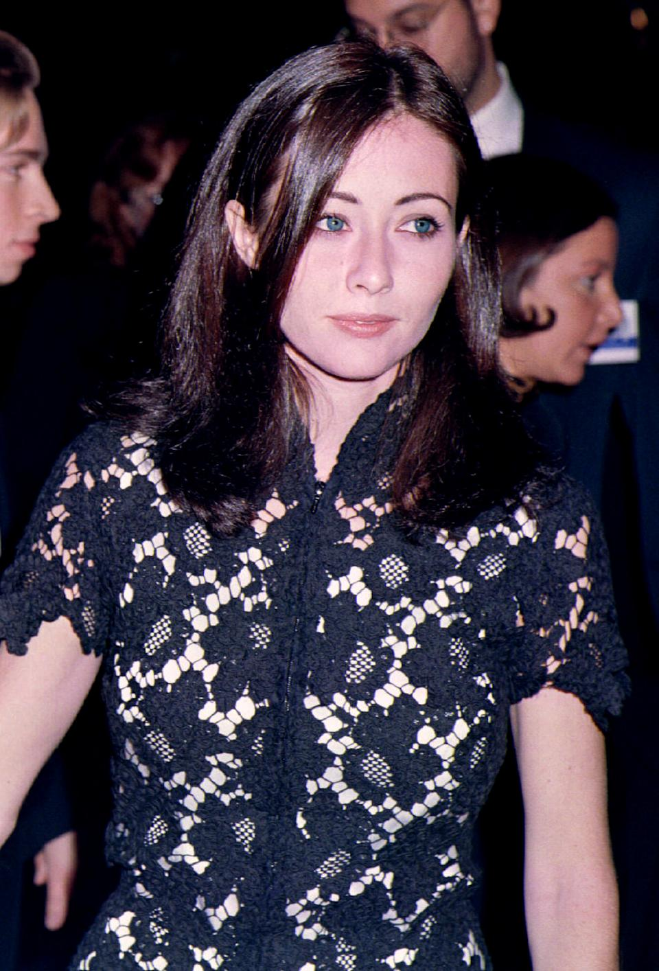 "Actress Shannen Doherty arrives for the premiere of her new film ""Mallrats"" October 17. The film, about life at an American shopping mall, stars Doherty as ""Rene,"" a seasoned shopper"