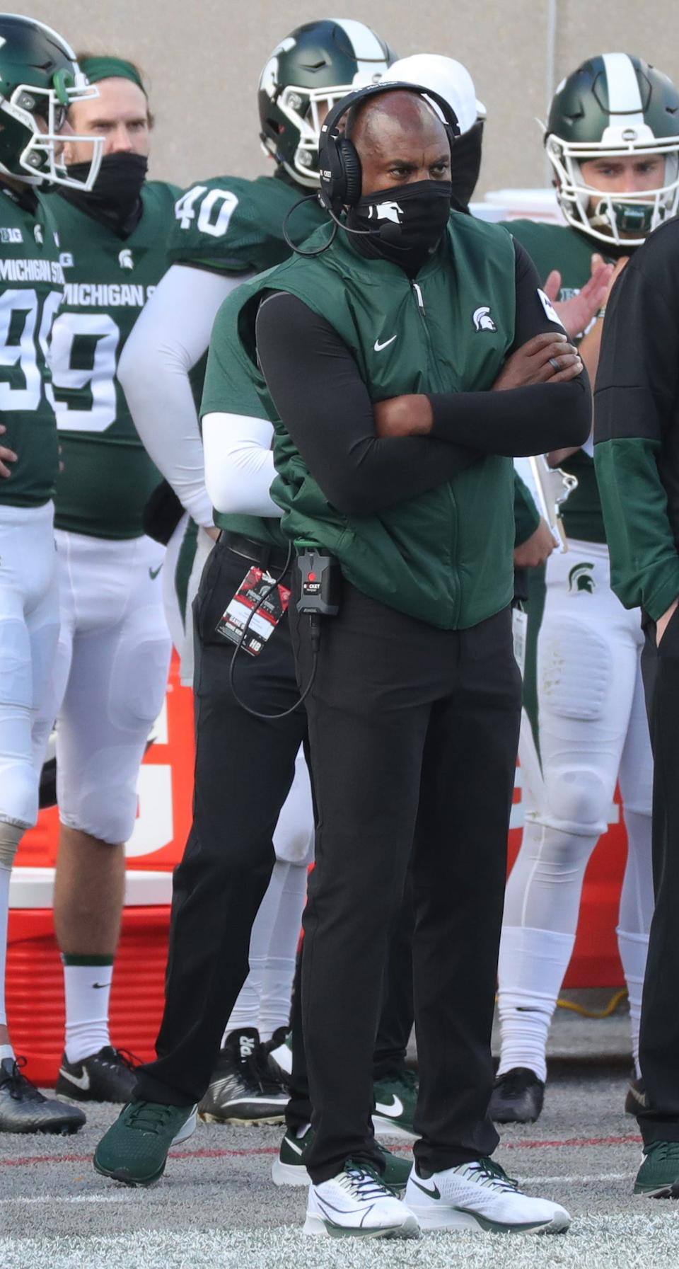 Michigan State coach Mel Tucker on the sidelines during MSU's 38-27 loss on Saturday, Oct. 24, 2020, at Spartan Stadium.