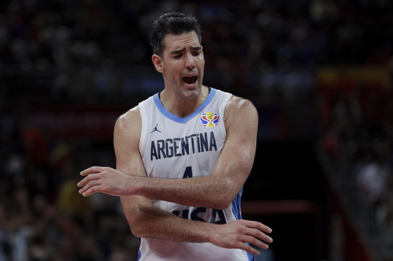 Argentina team captain Luis Scola reacts during their FIBA Basketball World Cup Final against Spain, at the Cadillac Arena in Beijing, Sunday, Sept. 15, 2019. (AP Photo/Mark Schiefelbein)