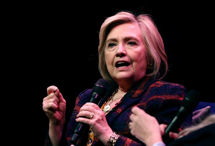 "Former U.S. Secretary of State Hillary Clinton speaks during an event promoting ""The Book of Gutsy Women"" at the Southbank Centre in London on Nov. 10. (Photo: Simon Dawson/Reuters)"
