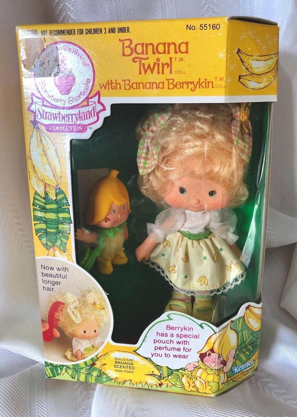 """<p>Who didn't adore Strawberry Shortcake and all her adorable friends with dessert-themed names? The original dolls were released in the 1980s and now command between <a href=""""https://www.ebay.com/itm/Party-Pleaser-Strawberry-Shortcake-Doll-Cafe-Ole-Burrito-Pet-Vintage-1983-Kenner/283153165707?epid=1101708065&hash=item41ed3e6d8b:g:eowAAOSwYwFbluCG:sc:USPSPriority!32962!US!-1:rk:8:pf:0"""" rel=""""nofollow noopener"""" target=""""_blank"""" data-ylk=""""slk:$100"""" class=""""link rapid-noclick-resp"""">$100</a> and <a href=""""https://www.ebay.com/itm/Vintage-Strawberry-Shortcake-Banana-Twirl-Berrykin-Doll-Rare-Very-HTF-NEW-IN-BOX/392171472364?hash=item5b4f3dc5ec:g:-nwAAOSwHnJb6Kjm:rk:12:pf:0"""" rel=""""nofollow noopener"""" target=""""_blank"""" data-ylk=""""slk:$550"""" class=""""link rapid-noclick-resp"""">$550</a>, especially ones still housed in their box. </p>"""