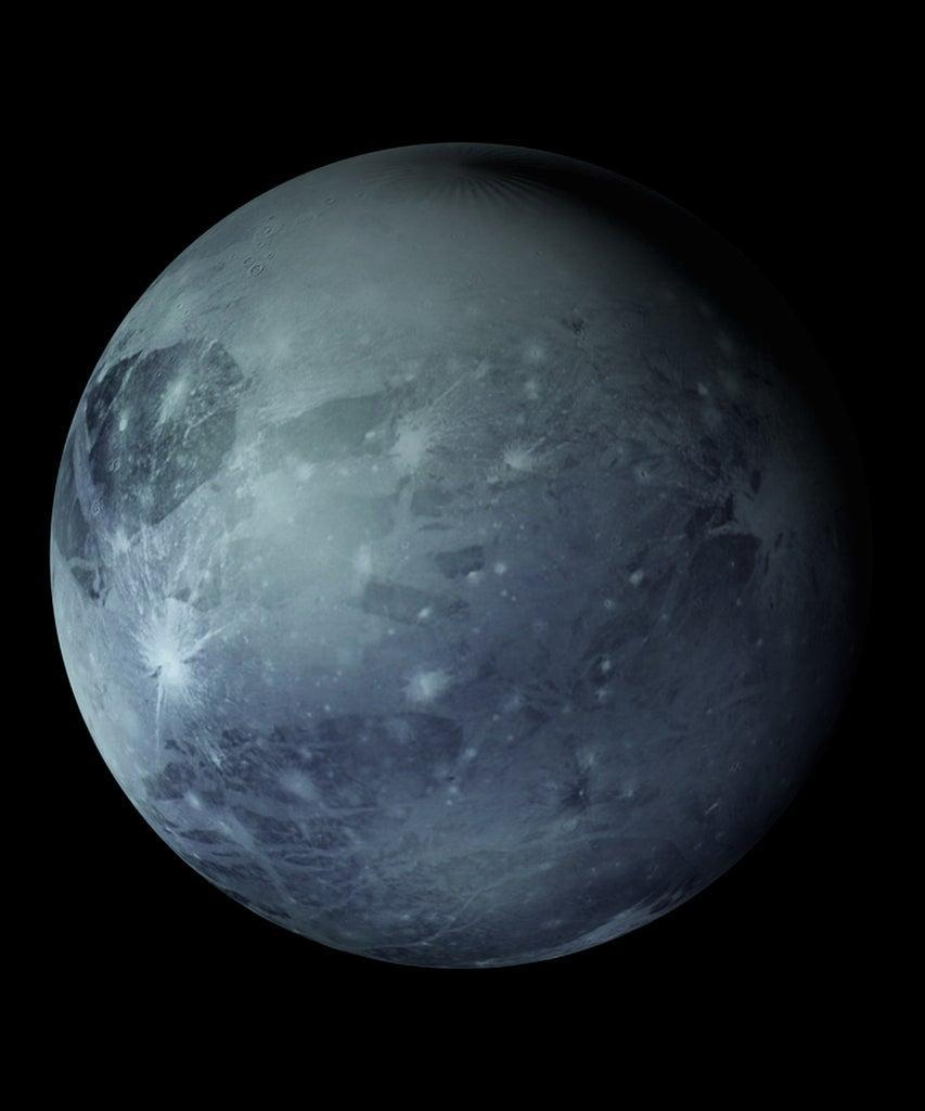 Computer generated rotation of the planet Pluto in cosmic stellar space. 3d rendering of an abstract background. Elements of this image are provided by NASA.