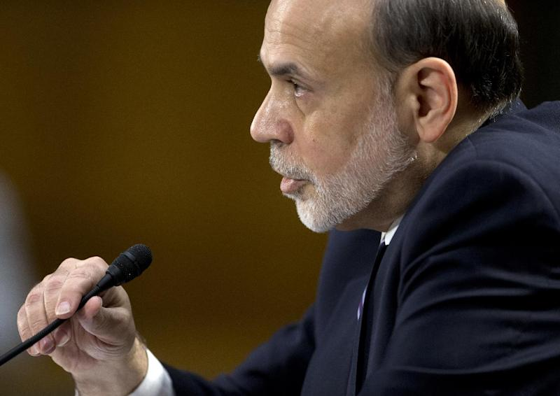 Federal Reserve Board Chairman Ben Bernanke testifies on Capitol Hill in Washington, Tuesday, Feb. 26, 2013, before the Senate Banking Committee hearing to deliver the central bank's Semiannual Monetary Policy Report to the Congress. (AP Photo/Carolyn Kaster)