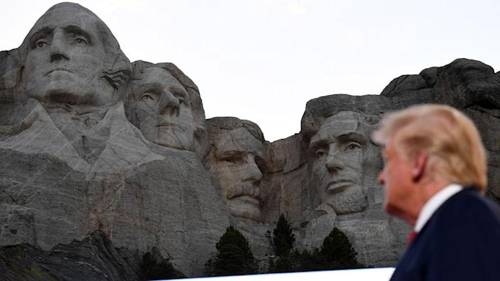 President Trump at Mount Rushmore on July 3. (Saul Loeb/AFP via Getty Images)