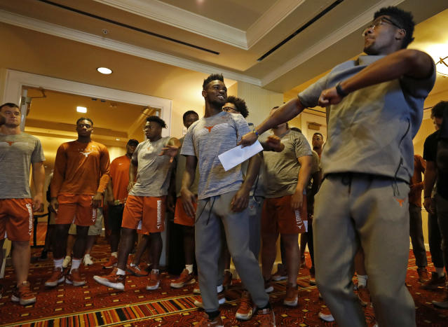 Members of the Texas Longhorns football team dance Saturday Sept. 7, 2019 at the team hotel in Austin, Tx. ( Photo by Edward A. Ornelas )