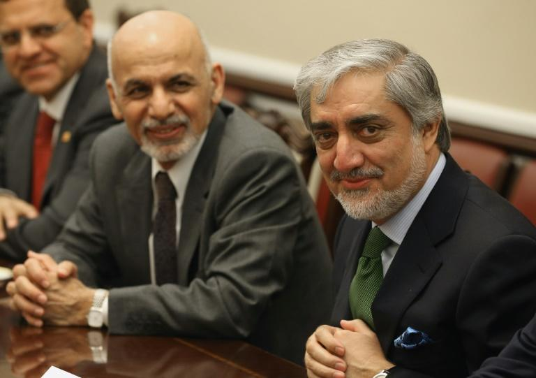 Afghanistan President Ashraf Ghani (L) and Chief Executive Abdullah Abdullah (R) -- seen here in Washington in March 2015 -- are running against each other for the presidency