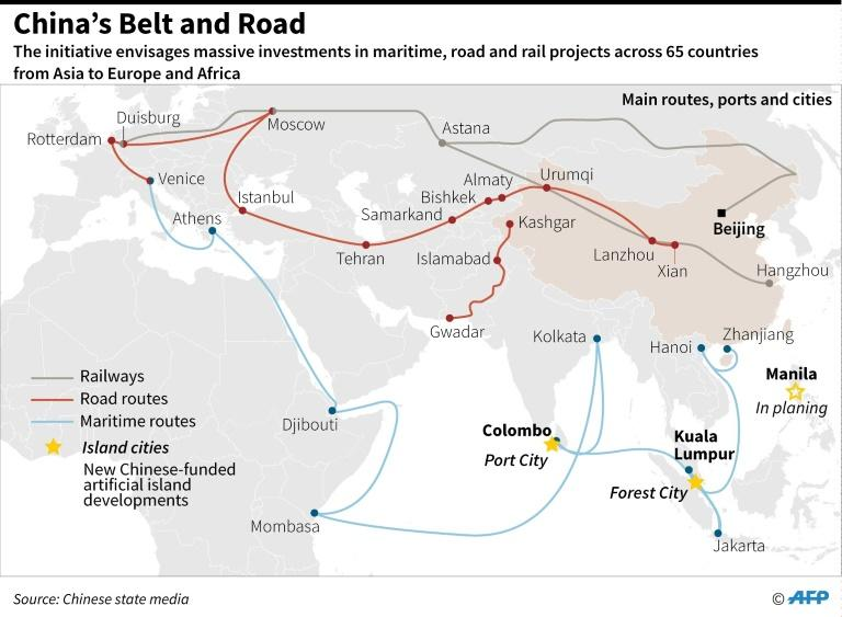 Graphic on China's massive infrastructure investment project including road, rail and ship routes around the world