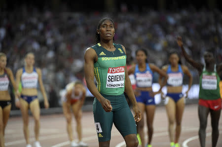 Athletics - World Athletics Championships – women's 800 metres final – London Stadium, London, Britain – August 13, 2017 – Caster Semenya of South Africa reacts after winning the gold medal. REUTERS/Toby Melville