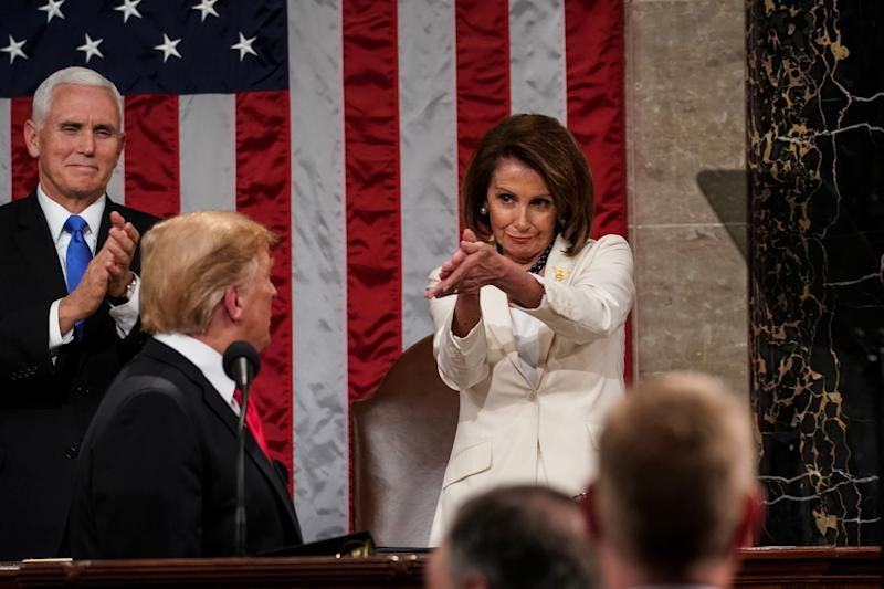 "House Speaker Nancy Pelosi, pictured with Vice-President Mike Pence and President Donald Trump, told talk show host Bill Maher that Trump is ""impeached forever."" (Photo: Getty Images)"