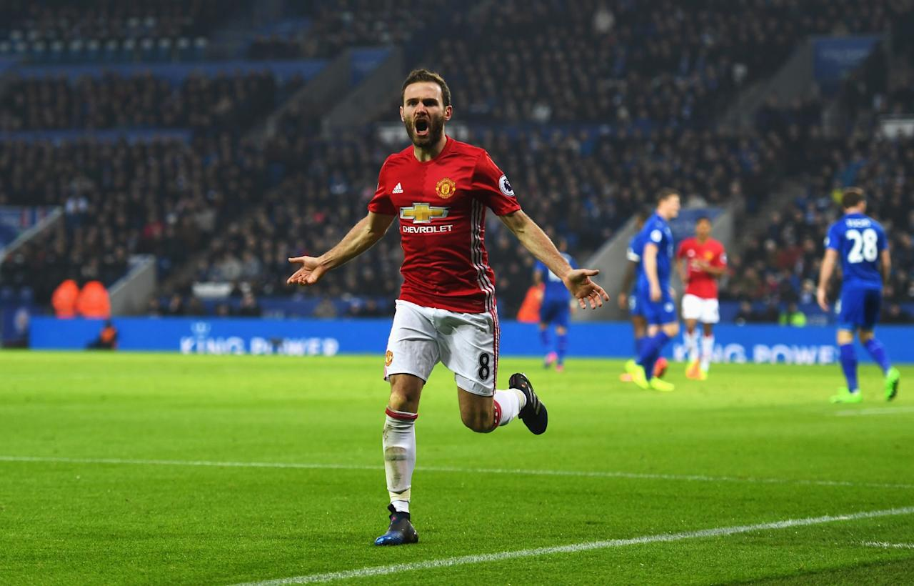 <p>Juan Mata of Manchester United celebrates their third goal during the Premier League match between Leicester City and Manchester United at The King Power Stadium on February 5, 2017 in Leicester, England. </p>