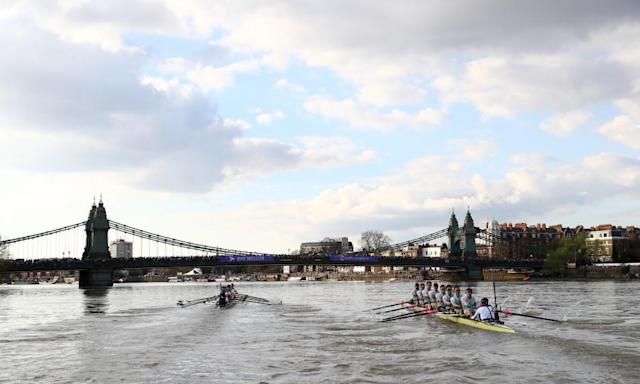 "<span class=""element-image__caption"">The Oxford men's crew, left, lead Cambridge and managed to hold it throughout the race, though it never seemed insurmountable. </span> <span class=""element-image__credit"">Photograph: Ian Walton/Getty Images</span>"