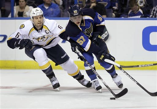 St. Louis Blues' David Perron, right, handles the puck as Nashville Predators' Shea Weber defends during the second period of an NHL hockey game Tuesday, March 27, 2012, in St Louis. (AP Photo/Jeff Roberson)