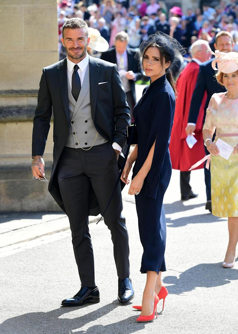 David and Victoria Beckham arrive at St George's Chapel at Windsor Castle before the wedding of Prince Harry to Meghan Markle (Getty Images)