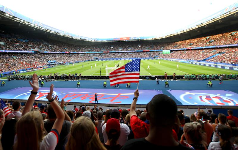 PARIS, FRANCE - JUNE 28: Fans show their support during the 2019 FIFA Women's World Cup France Quarter Final match between France and USA at Parc des Princes on June 28, 2019 in Paris, France. (Photo by Matthew Lewis - FIFA/FIFA via Getty Images)