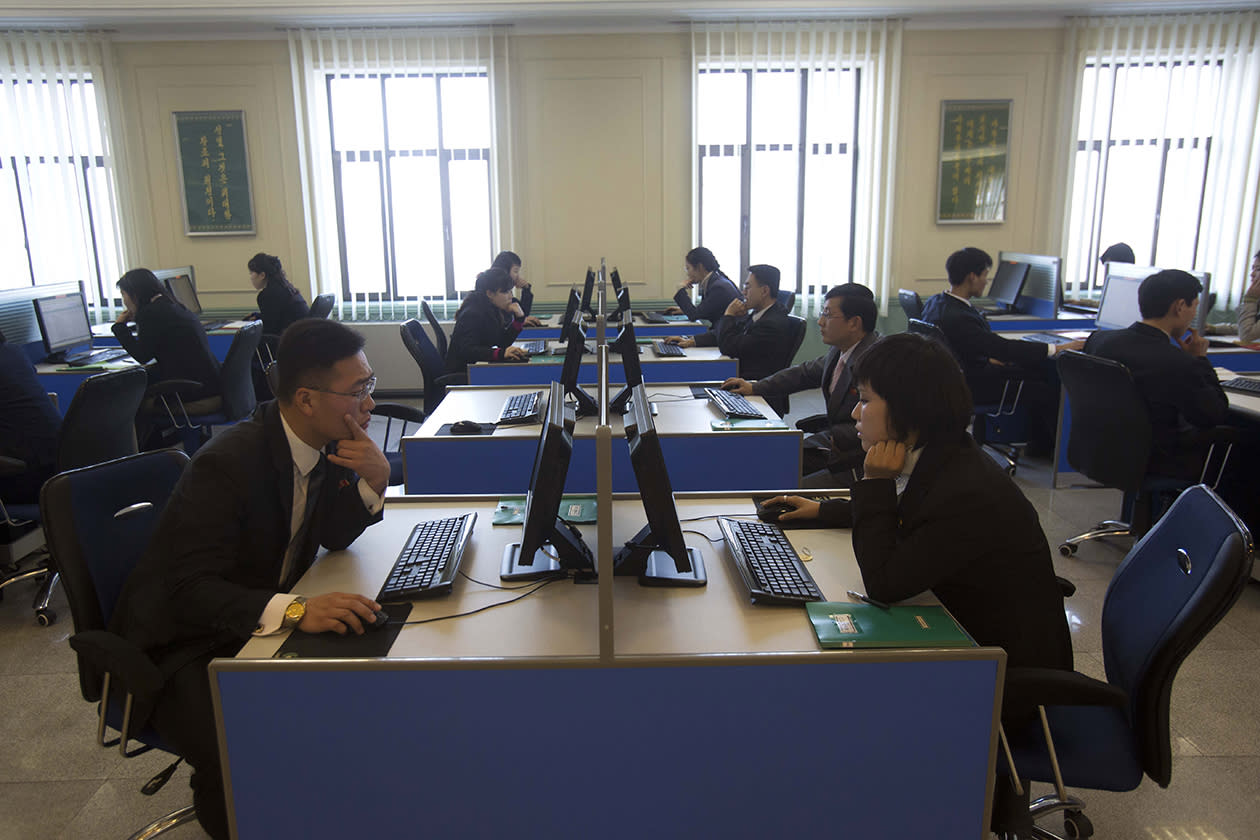 North Korean students work at computer terminals inside a computer lab at Kim Il Sung University in Pyongyang, North Korea.
