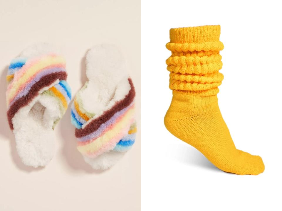 <p>Fashionable <em>and</em> durable, these playful <span>EMU Australia Mayberry Rainbow Slippers</span> ($70) are sure to brighten any dull WFH day, along with a pair of the Instagram-famous <span>Brother Vellies Cloud Socks</span> ($35). Your photo op awaits.</p>