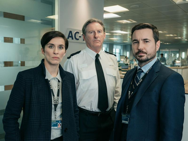 Vicky McClure and Martin Compston (right) with Line Of Duty co-star Adrian Dunbar (Photo: BBC)