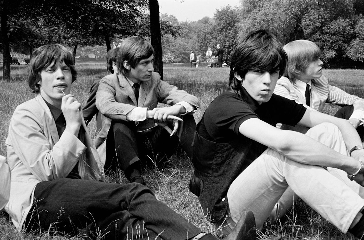 The Rolling Stones in a London park, early 1964. Left to right: Mick Jagger, Bill Wyman (background), Charlie Watts, Keith Richards and Brian Jones (1942 - 1969). (Photo by Terry O'Neill/Getty Images)