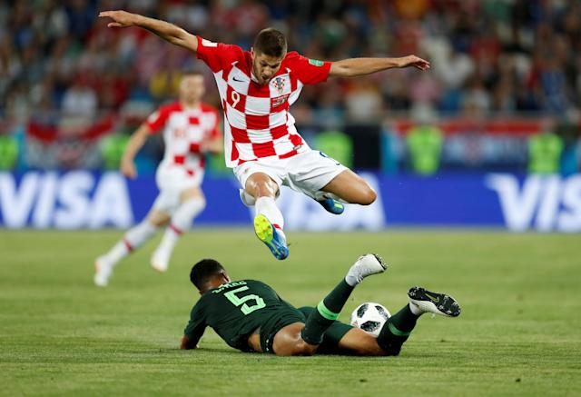 Soccer Football - World Cup - Group D - Croatia vs Nigeria - Kaliningrad Stadium, Kaliningrad, Russia - June 16, 2018 Croatia's Andrej Kramaric in action with Nigeria's William Troost-Ekong REUTERS/Matthew Childs TPX IMAGES OF THE DAY