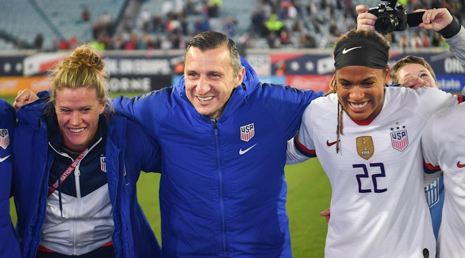 USWNT coach Vlatko Andonovski (center) has made his way from Macedonia, where it was unheard of to see girls play soccer, to coaching the best women's program on the planet. (Photo by Brad Smith/ISI Photos/Getty Images)