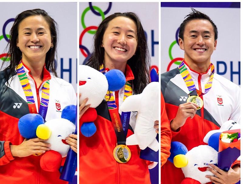The Quah swimming siblings (from left) Ting Wen, Jing Wen and Zheng Wen all clinched gold medals on the same day. (PHOTOS: Andy Chua/SNOC)