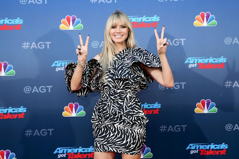 "PASADENA, CALIFORNIA - MARCH 04: Heidi Klum attends the ""America's Got Talent"" Season 15 Kickoff at Pasadena Civic Auditorium on March 04, 2020 in Pasadena, California. (Photo by Phillip Faraone/FilmMagic)"