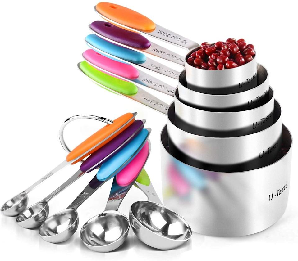 <p>We love that this <span>U-Taste 10 Piece Measuring Cups and Spoons Set</span> ($22) is color-coded.</p>