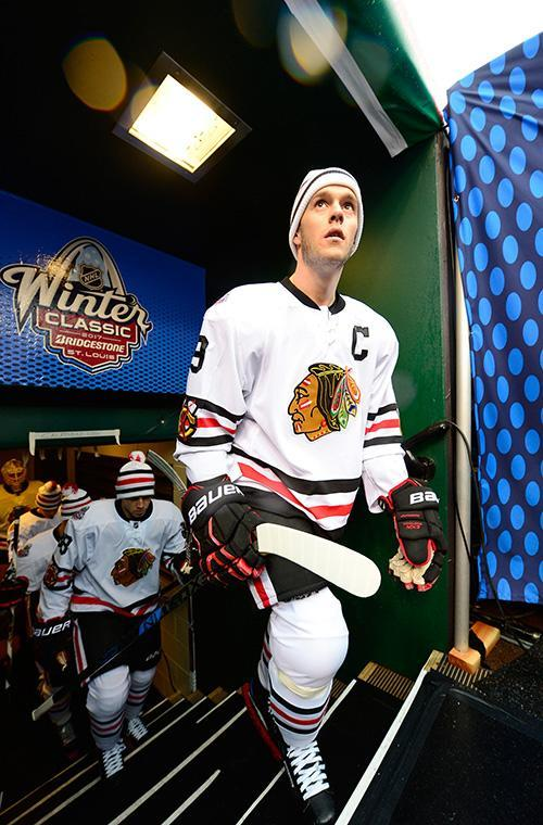 <p>ST LOUIS, MO – JANUARY 02: Jonathan Toews #19 of the Chicago Blackhawks makes his way to the ice surface for warm-up prior to the 2017 Bridgestone NHL Winter Classic at Busch Stadium on January 2, 2017 in St Louis, Missouri. (Photo by Patrick McDermott/NHLI via Getty Images) </p>