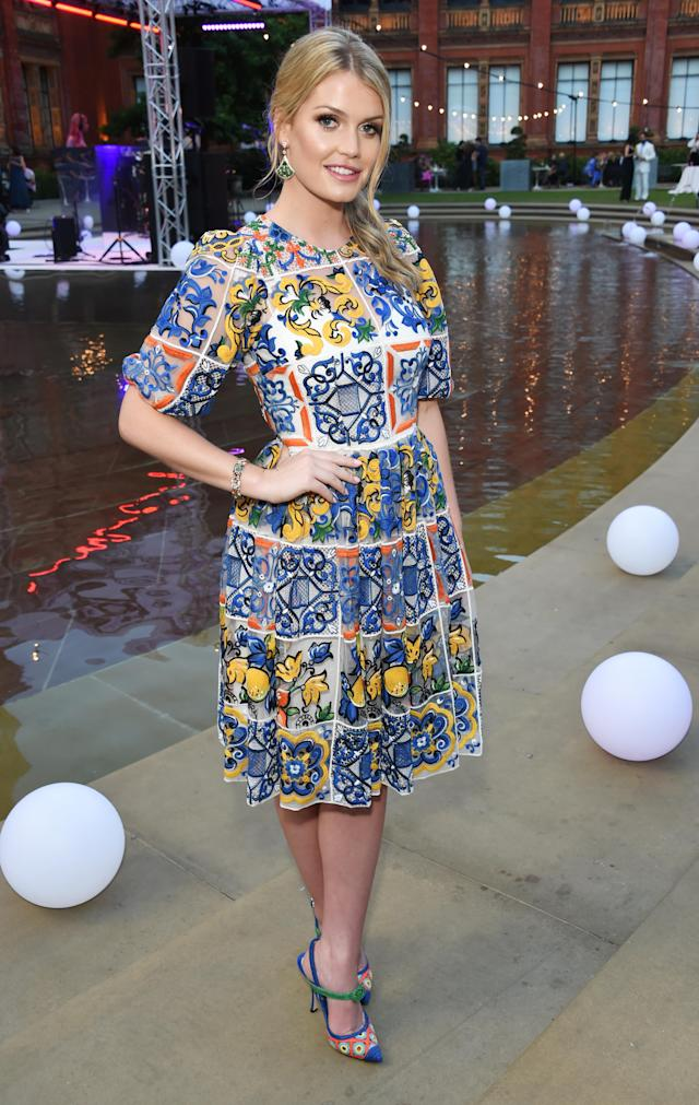 <p>Another night, another party for Kitty Spencer, who wore a printed D&G dress to the V&A summer Party. (Photo: Getty) </p>