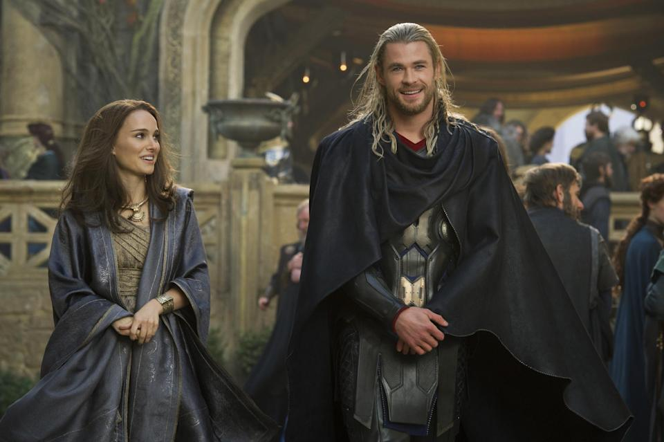 """This publicity photo released by Walt Disney Studios and Marvel shows Natalie Portman, left, as Jane Foster and Chris Hemsworth as Thor, in Marvel's """"Thor: The Dark World."""" (AP Photo/Walt Disney Studios/Copyright Marvel, Jay Maidment, File)"""
