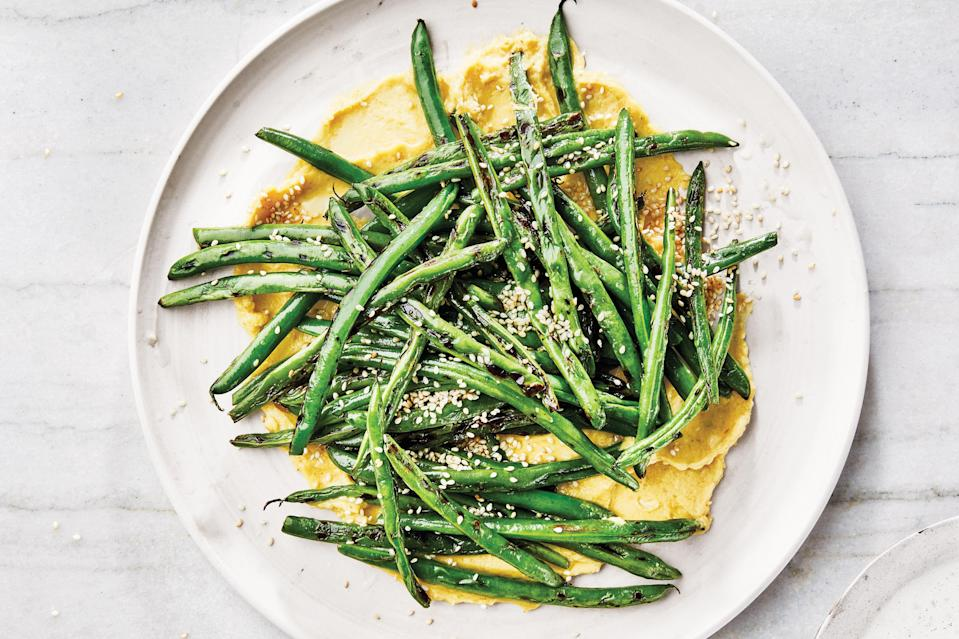 "Charring the beans in a cast-iron skillet gives them an irresistible smokiness that plays off the rich flavors of the miso butter, but you could grill them, or simply blanch them, instead. <a href=""https://www.epicurious.com/recipes/food/views/skillet-charred-summer-beans-with-miso-butter?mbid=synd_yahoo_rss"" rel=""nofollow noopener"" target=""_blank"" data-ylk=""slk:See recipe."" class=""link rapid-noclick-resp"">See recipe.</a>"