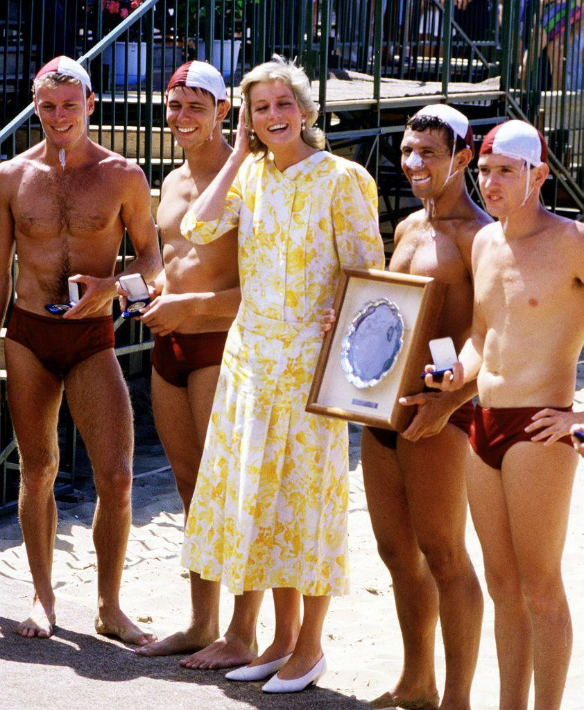 <p>During a more formal beach trip, the Princess of Wales met lifeguards as part of her royal tour of Australia. While at Terrigal beach along the country's central coast, Princess Diana chose a flowy, summery Paul Costelloe dress.<br></p>