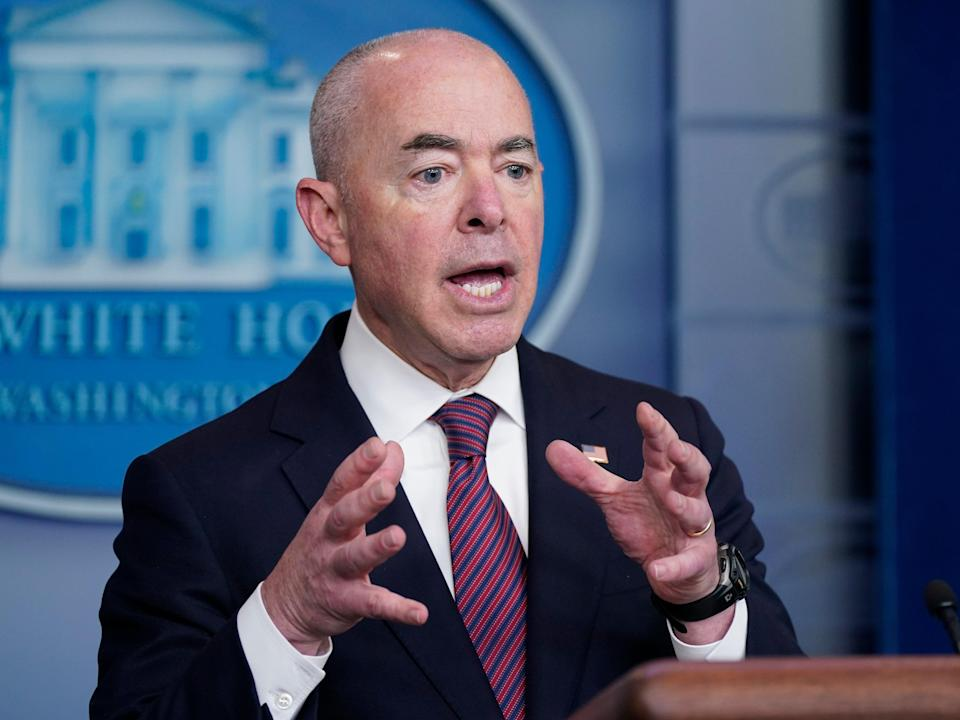 Secretary of Homeland Security Alejandro Mayorkas speaks during a press briefing at the White House, Friday, Sept. 24, 2021, in Washington (AP)