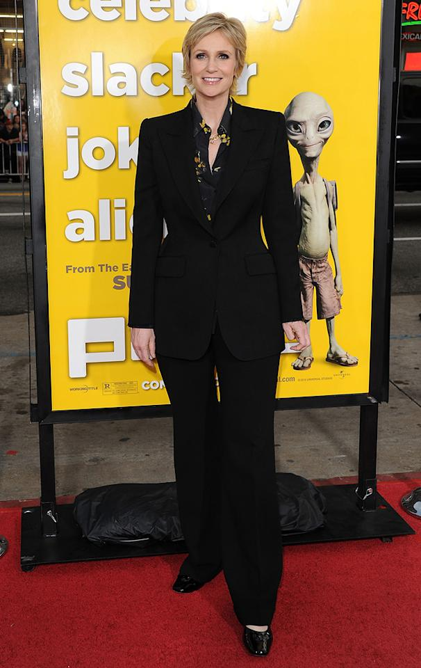 """<a href=""""http://movies.yahoo.com/movie/contributor/1802866092"""">Jane Lynch</a> attends the Los Angeles premiere of <a href=""""http://movies.yahoo.com/movie/1810097993/info"""">Paul</a> on March 14, 2011."""