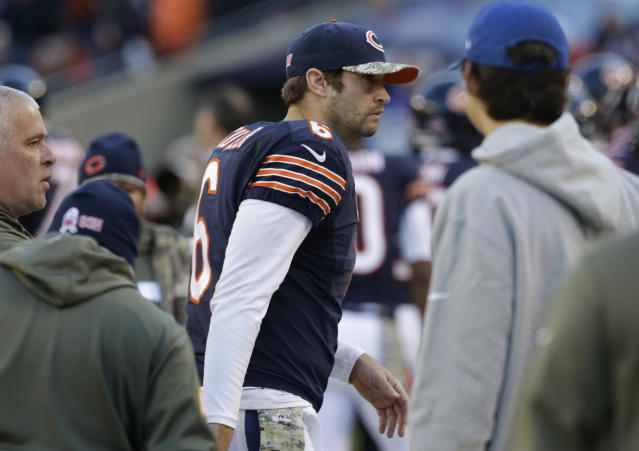 Chicago Bears quarterback Jay Cutler (6) walks on the sidelines during the second half of an NFL football game against the Detroit Lions, Sunday, Nov. 10, 2013, in Chicago. The Lions won 21-19. (AP Photo/Nam Y. Huh)