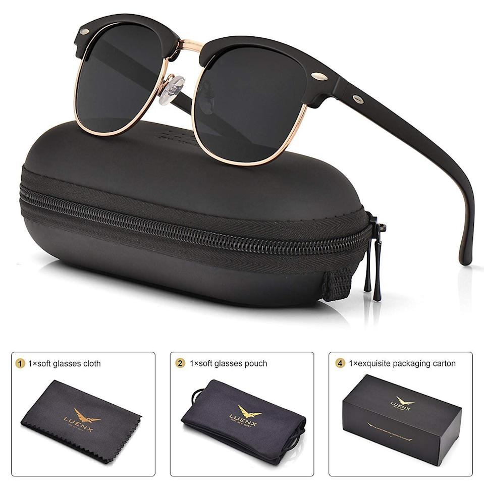 Mens Womens Clubmaster Polarized Sunglasses UV 400 Black Lenses Matte Black Frame 51MM,by LUENX with Case, $19 off coupon available now. (Photo: Amazon)