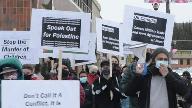 Demonstrators in Whitehorse voice support for Palestine in the latest Gaza war. (Philippe Morin/CBC - image credit)