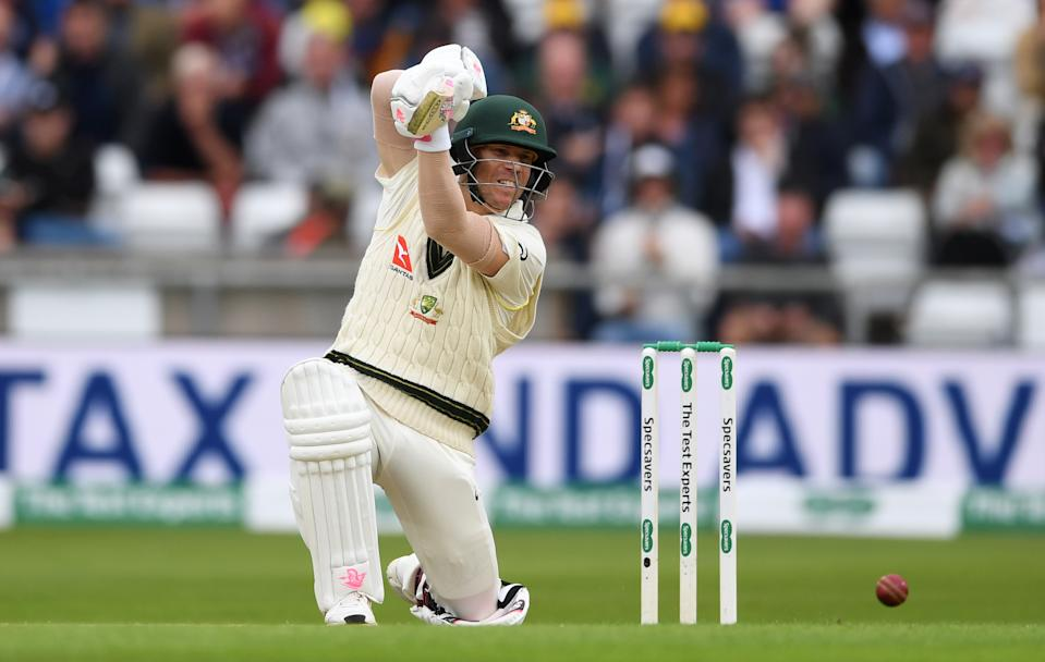 David Warner looked to have found some form at Headingley. (Photo by Gareth Copley/Getty Images)