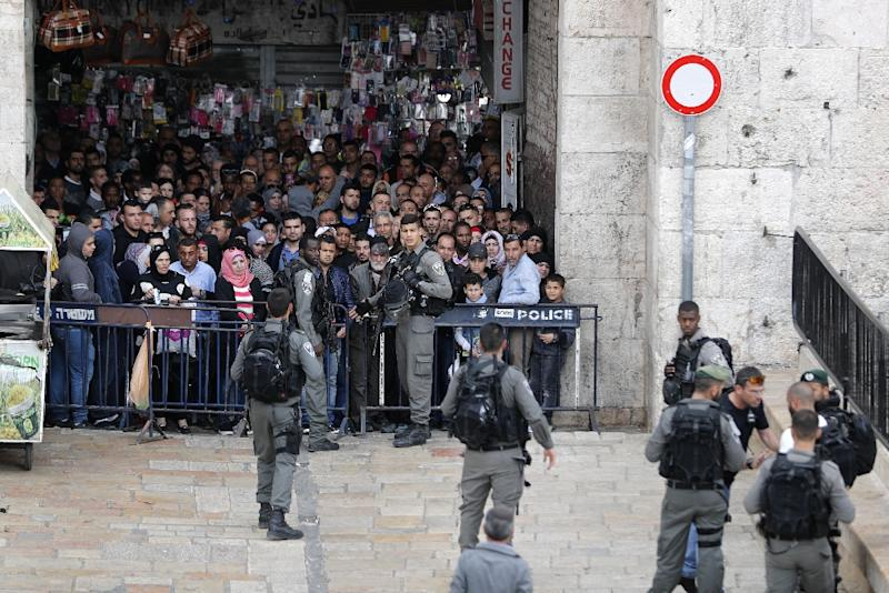 Police said the anti-occupation demonstration was peaceful, despite tensions over an incident earlier in the day, when Israeli security forces could be seen closing off Damascus Gate following a stabbing attack by a Palestinian man April 1, 2017