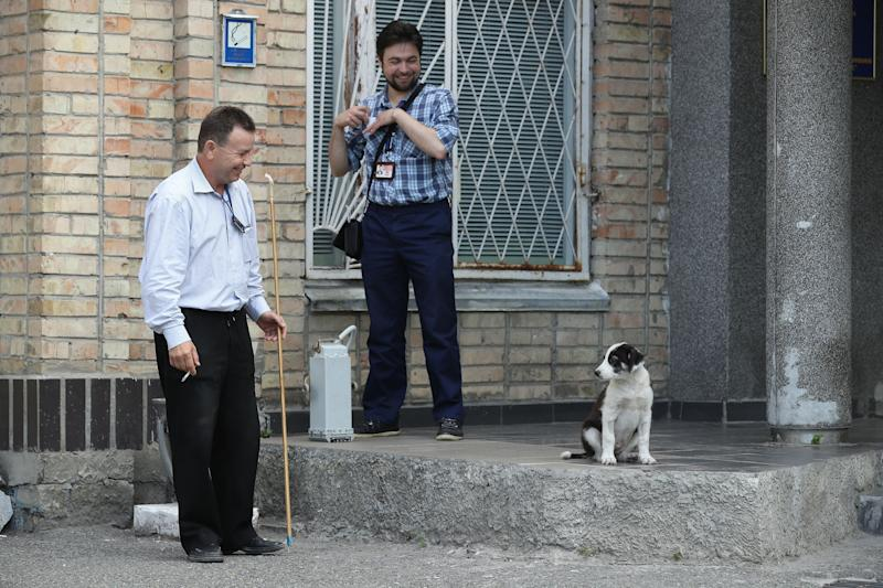 Administration workers look at a stray dog at the Chernobyl nuclear power plant on August 18, 2017.