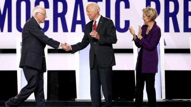 PHOTO: Sen. Bernie Sanders, former Vice President Joe Biden, and Sen. Elizabeth Warren enter the stage before the Democratic Presidential Debate at Otterbein University, Oct. 15, 2019, in Westerville, Ohio. (Win Mcnamee/Getty Images)