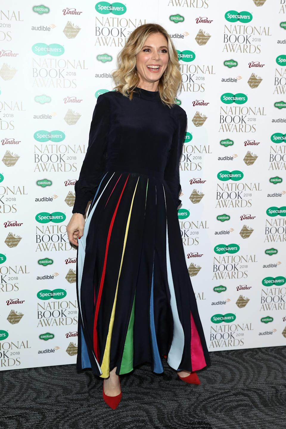 <p>The 'Silent Witness' actress made a style statement in a rainbow skirt. <em>[Photo: Getty]</em> </p>