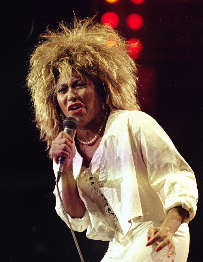 FILE - Tina Turner performs at New York's Madison Square Garden on Aug. 1, 1985. Turner will be inducted to the Rock & Roll Hall of Fame. The ceremony, to be held at the Rocket Mortgage Fieldhouse in Cleveland, will be simulcast on SiriusXM and air later on HBO. (AP Photo/Ray Stubblebine, File)