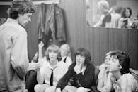 <p>Paul and Linda McCartney (right) backstage with Mick Jagger (left) and Bill Wyman (centre) at a Rolling Stones concert at The Palladium, New York City, June 19, 1978.</p>