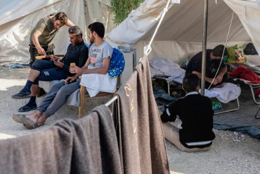A November 2019 file picture shows Syrian refugees inside the Pournara camp, some 20 kilometres outside the Cypriot capital Nicosia