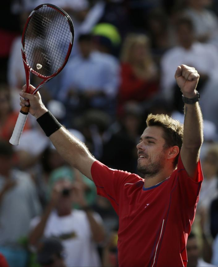 Stanislas Wawrinka, of Switzerland, reacts after defeating Andy Murray, of Great Britain, during the quarterfinals of the 2013 U.S. Open tennis tournament, Thursday, Sept. 5, 2013, in New York. (AP Photo/David Goldman)